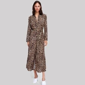 Zart Animal Leopard button down Maxi Dress